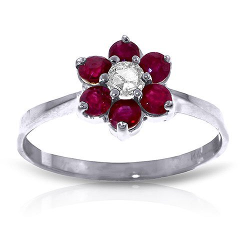 Platinum Plated Sterling Silver Ring withNatural Diamon
