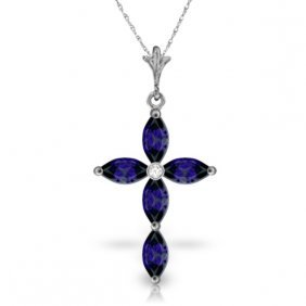 14k White Gold Necklace With Diamond & Sapphires