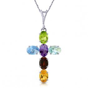 14k White Gold Cross Necklace With Multi Colors Gems