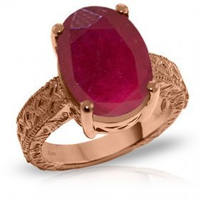 14k. Rose Gold Ring With Oval Ruby