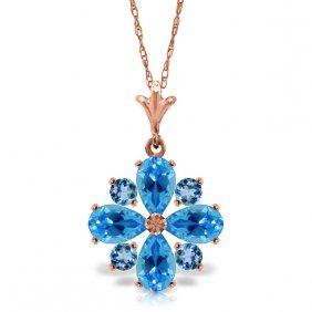 14k Rose Gold Spring Blue Topaz Necklace