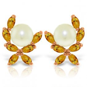 14k Rose Gold Stud Earrings With Citrines & Pearls