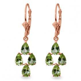 14k Rose Gold Peridot Spring Earrings