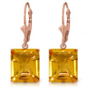 14k Rose Gold Lever Back Earrings With Citrines