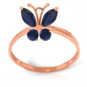 14k Rose Gold Butterfly Ring With Sapphires