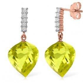 14k Rose Gold Diamond Spiral Quartz Lemon Earring