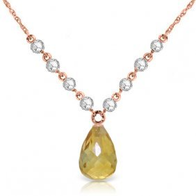 14k Rose Gold Mermaids Singing Citrine Diamond Necklace