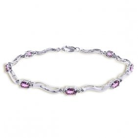 14k White Gold Tennis Bracelet W/ Diamonds & Amethyst