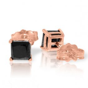 14k Rose Gold Stud Earrings Black Diamonds