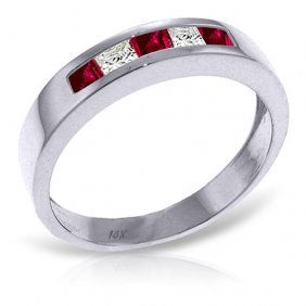 Platinum Plated Sterling Silver Rings With Natural Ruby