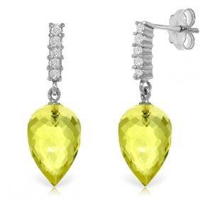 14k White Gold Earrings With Diamonds & Quartz Lemon