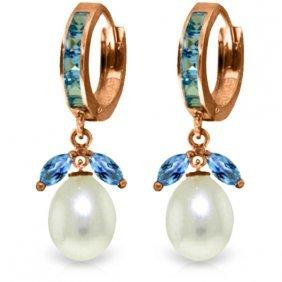14k Rose Gold Majorca Blue Topaz Pearl Earrings