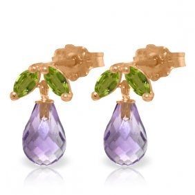 14k Rose Gold Stud Earrings With Peridots & Amethysts