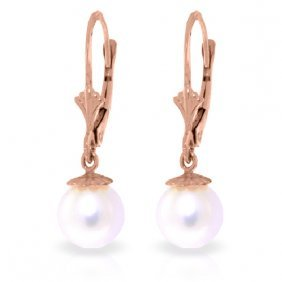 14k Rose Gold Leverback Earrings With Pearls
