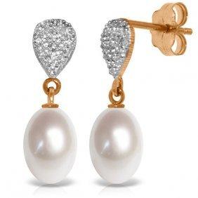 14k Rose Gold Splendid Pearl Diamond Earrings