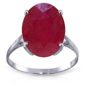 14k White Gold Ring With Oval Ruby