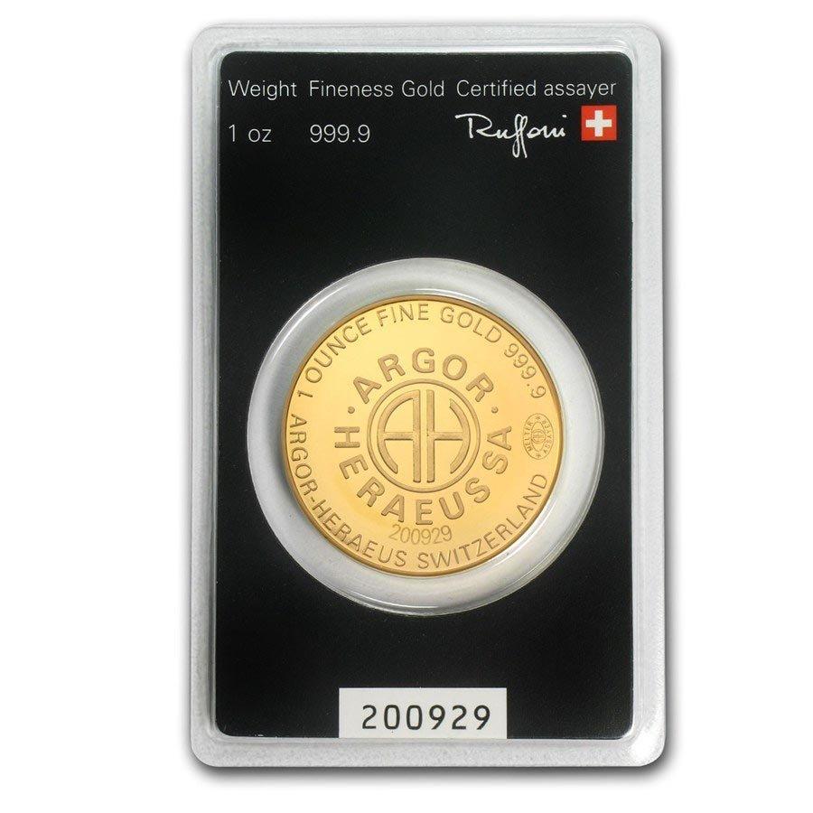 1 oz Gold Round - Argor-Heraeus KineRound Design (In As