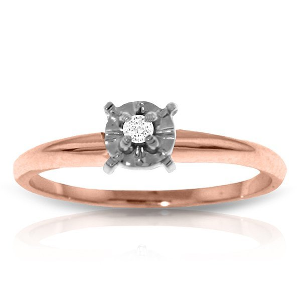 14K Rose Gold Solitaire Ring with 0.05 Ct. Diamond