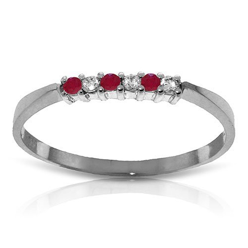 0.11 CTW Platinum Plated Sterling Silver Love Band Ruby