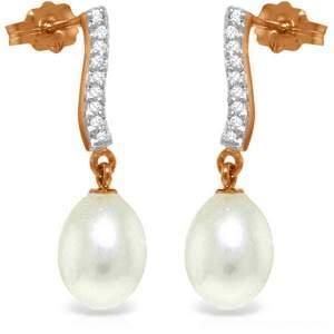 14K Rose Gold Adore Pearl Diamond Earrings