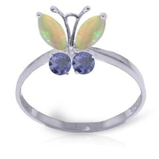 14K White Gold Butterfly Ring with Opals & Tanzanites