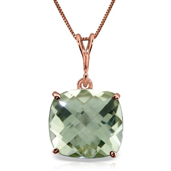 14K Rose Gold Necklace Checkerboard Cut Green Amethyst