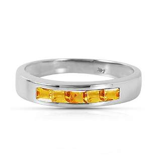 Platinum Plated Sterling Silver Rings with Natural Citr