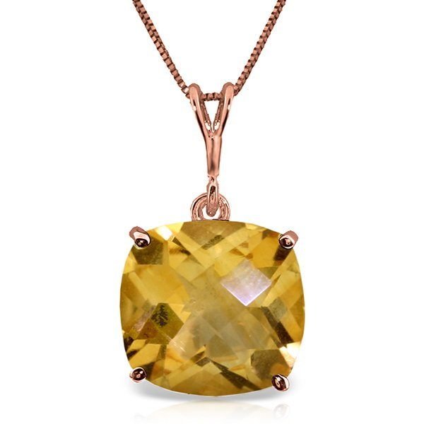 14K Rose Gold Necklace W/ Checkerboard Cut Citrine