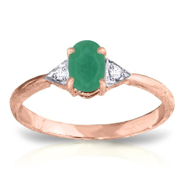 14K. Rose Gold RING WITH NATURAL DIAMONDS & EMERALD