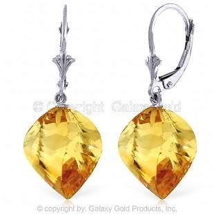 14K White Gold LEVERBACK EarringsTWISTED BRIOLETTE CITR