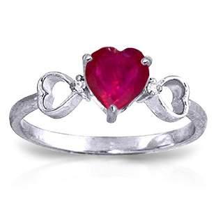 1.01 Carat Platinum Plated Sterling Silver Tri Heart Ru