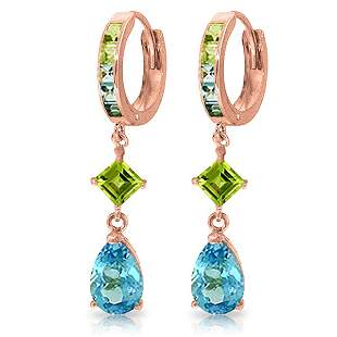 14K Rose Gold Huggie Earrings with Peridots & Blue Topa