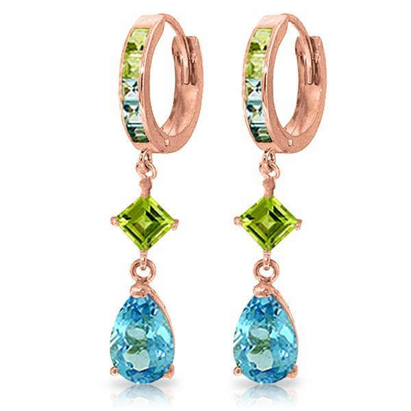 14K Rose Gold Huggie Earrings with Peridots & Blue Topa