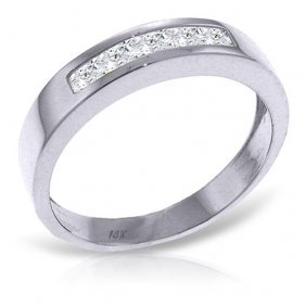 Platinum Plated Sterling Silver Rings With Natural Whit