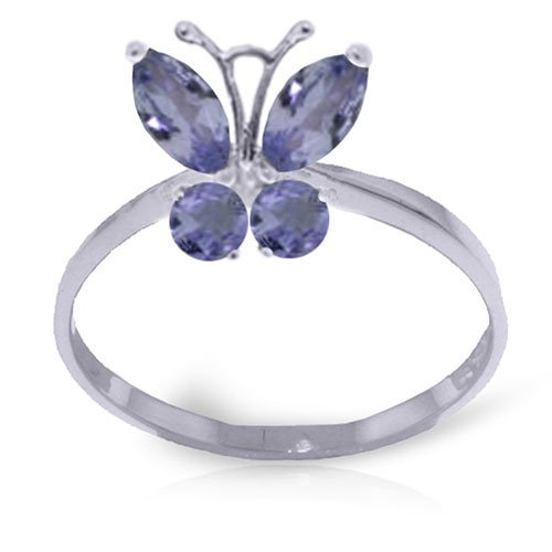 0.6 CTW Platinum Plated Sterling Silver Butterfly Ring