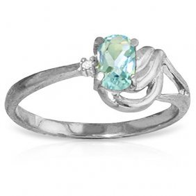 Platinum Plated Sterling Silver Ring Withdiamond & Aqua