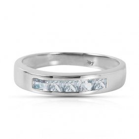 Platinum Plated Sterling Silver Rings With Natural Aqua