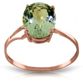 14k Rose Gold Ring With Checkerboard Cut Green Amethyst