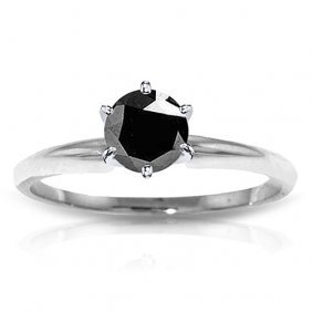 Platinum Plated Sterling Silver Solitaire Ring With0.50
