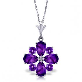 14k White Gold Winter Twilight Amethyst Necklace