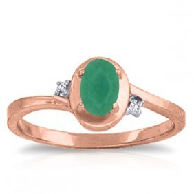 14k. Rose Gold Rings With Natural Diamonds & Emerald