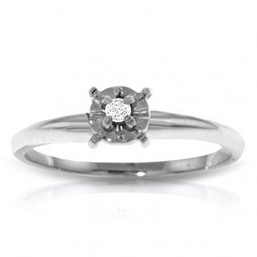 Platinum Plated Sterling Silver Solitaire Ring With0.05