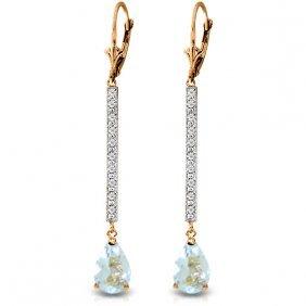 14k Rose Gold Earrings With Diamonds & Aquamarines