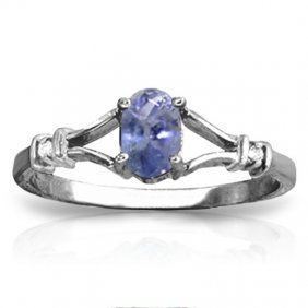 14k. White Gold Ring With Diamonds & Tanzanite