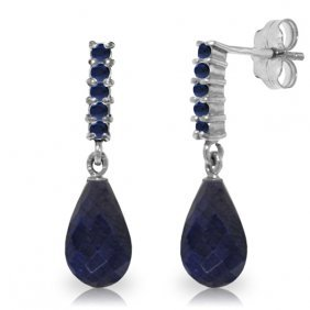 14k White Gold Sapphires Earrings With Briolette Dangli