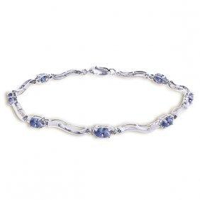14k White Gold Tennis Bracelet With Diamonds & Tanzanit