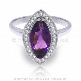 14k White Gold Ring With Diamonds & Marquis Amethyst