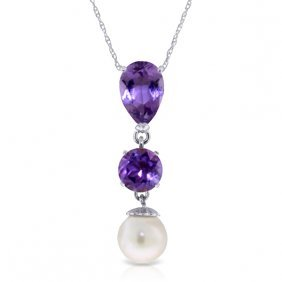14k White Gold Necklace With Purple Amethyst & Pearl