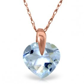 14k Rose Gold Lonely Heart Aquamarine Necklace