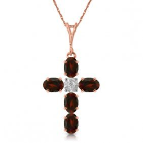14k Rose Gold Cross Necklace With Diamond & Garnets